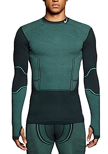 Nike Pro Mens Hyperwarm Flex Shirt Seaweed Green (Large, Seaweed Green)
