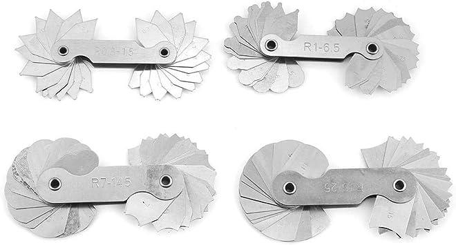 Radius Gauge Set ,4pcs Stainless Steel Radius Fillet Gauge Measuring Tool R0.3-1.5// R1-6.5// R7-14.5// R15-25