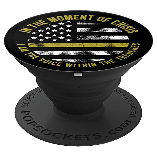 Police And Fire Dispatcher Thin Gold Line Flag Dispatch - PopSockets Grip and Stand for Phones and Tablets