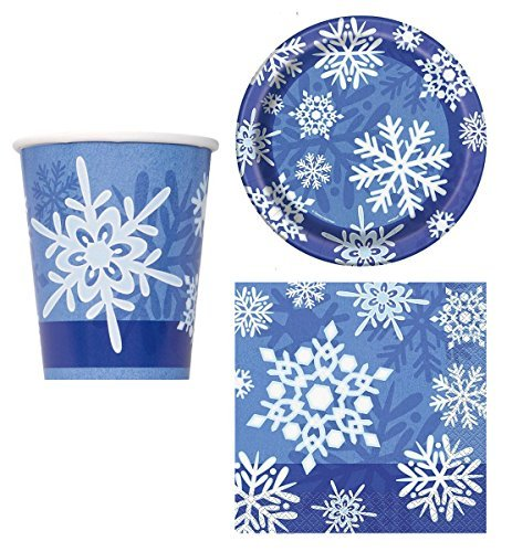 Charmed By Dragons Snowflake Party Supplies for 16 People: Cups Dessert Plates and Napkins 48 Piece Bundle ()