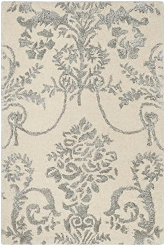 Safavieh Bella Collection BEL917A Ivory and Grey Premium Wool Viscose Area Rug 2 x 3