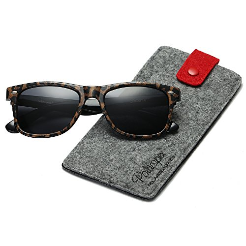 POLARSPEX POLARIZED UNISEX 80'S RETRO CLASSIC TRENDY STYLISH SUNGLASSES (Leopard Brown | Smoke, - Leopard Men Sunglasses