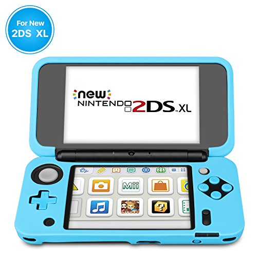TNP New Nintendo 2DS XL Silicone Case - Soft Rubber Protective Grip Cover Sleeve Game Console Skin Guard Non-slip Comfort Gel Ergonomic Controller Shell Accessories For New 2DS XL LL (Blue)