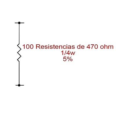 100X Resistencias de carbón 470 Ohm 1/4W 0,25W 5%