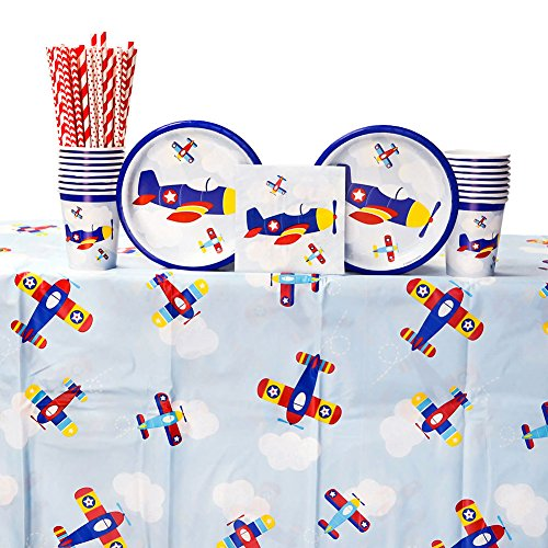 Lil' Flyer Airplane 1st Birthday Party Supply Pack for 16 Guests: Straws, Dessert Plates, Beverage Napkins, Table Cover, and -