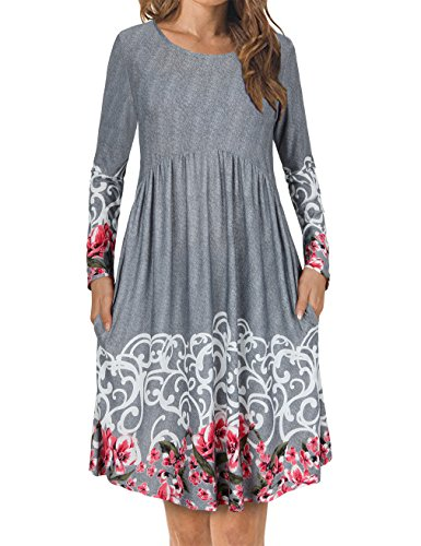 FANSIC Women's Floral Printed Long-Sleeved Round Neck Pocket Dresses X-Large Gray