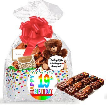 19th Birthday / Anniversary Gourmet Food Gift Basket Chocolate Brownie Variety Gift Pack Box (Individually Wrapped) 12pack