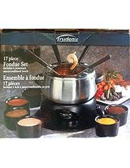 Trudeau 17 Piece Fondue Set; Includes 6 Stoneware sauce/condiment bowls