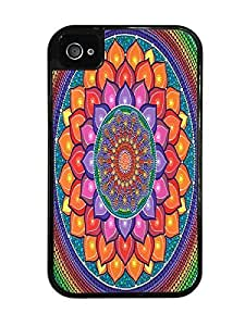 Lotus Rainbow Mandala Black 2-in-1 Protective Case with Silicone Insert for Apple iPhone 4 / 4S by ruishername