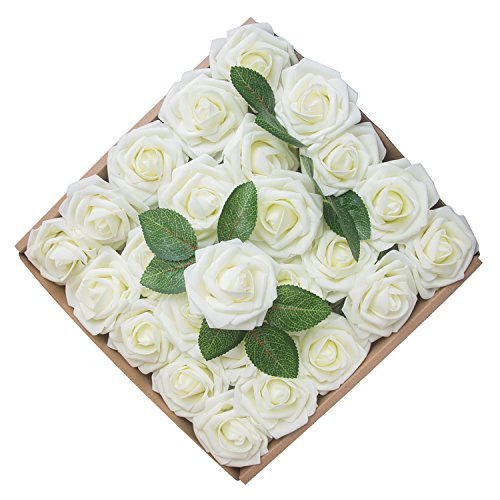 Umiss Roses Artificial Flowers Fake Flowers Wedding Decorations Set 50pcs Artificial Flora DIY Wedding Home Office Party Hotel Restaurant Patio Yard Decoration (Ivory)