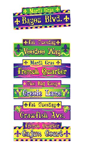 Faerynicethings Mardi Gras Street Signs - 6 Pack - Fat Tuesday - Voodoo Way - Party Decorations -