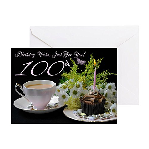 CafePress - 100Th Birthday Greeting Card With Tea And Cake - Greeting Card, Note Card, Birthday Card, Blank Inside Glossy