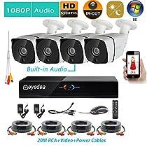 Eyedea H 1080P 8 CH Phone View Remote Access DVR Bullet Audio Night Vision Video Surveillance CCTV Security Camera System