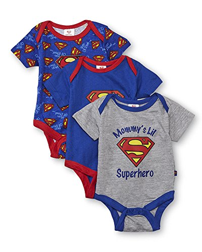 Superman DC Comics Baby Boys Three-Pack Bodysuits (3-6 Months) Blue/Red