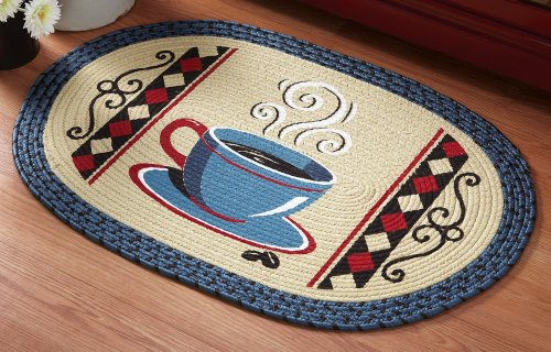 Vintage Coffee Kitchen Braided Rug