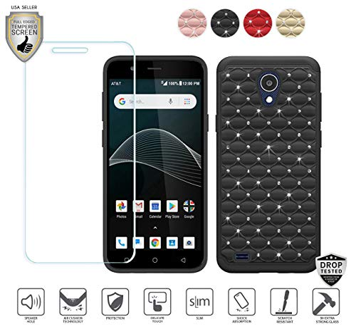 Compatible for At&t Axia QS5509a Case, Cricket Vision Case, with Tempered Glass Screen Protector, Stud Glitter Bling Diamond Design Hybrid [Shockfpoof] Tough Case for Women Girl Design (Black)