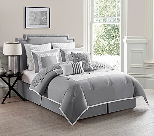VCNY 9 Piece Marion Comforter Set, Full/Queen, Gray