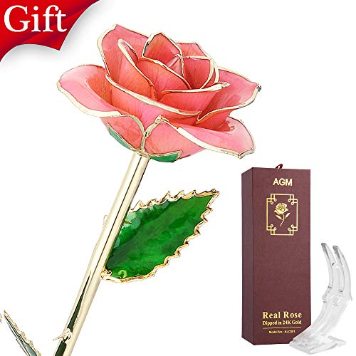 (AGM 24k, Real Rose Flower Dipped in Gold with Stand Box, Gift for Mother's, Valentine's, Wedding Day, Home Deco(Pink))