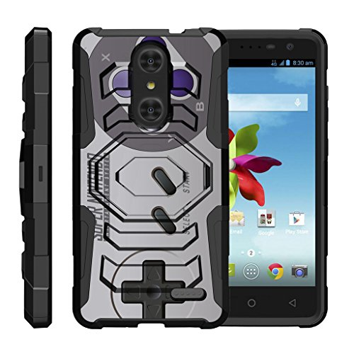 TurtleArmor | Compatible for ZTE Grand X 4 Case | Grand X4 Case | ZTE Blade Spark [Octo Guard] Dual Layer Case Holster Belt Clip Sturdy Kickstand Cover - Classic Game Controller