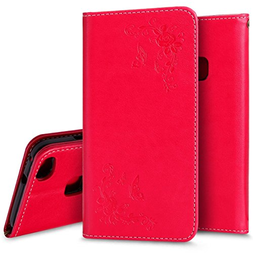 Price comparison product image Huawei P10 Lite Case Vanki Wallet PU Leather Shockproof Flip Protective Cover (Huawei P10 Lite, Red)