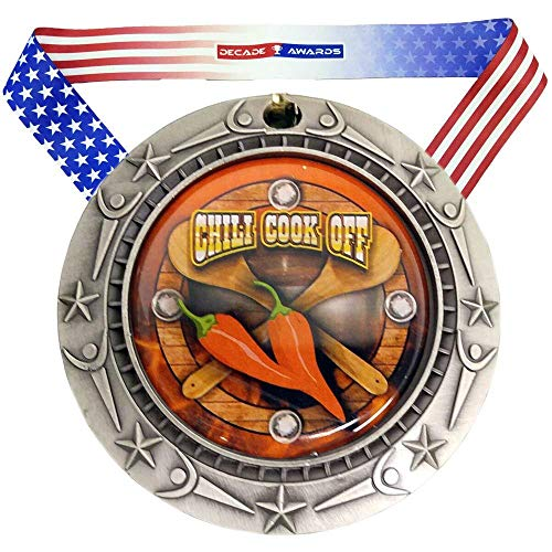 Decade Awards Chili Cook-Off World Class Medal - Silver | Chili Competition Second Place Award | Includes Stars and Stripes American Flag V Neck Ribbon | 3 Inch Wide