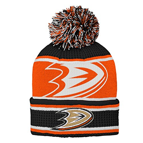 Outerstuff NHL NHL Anaheim Ducks Youth Boys Grinder Cuffed Knit Hat with Pom, Black, Youth One Size -