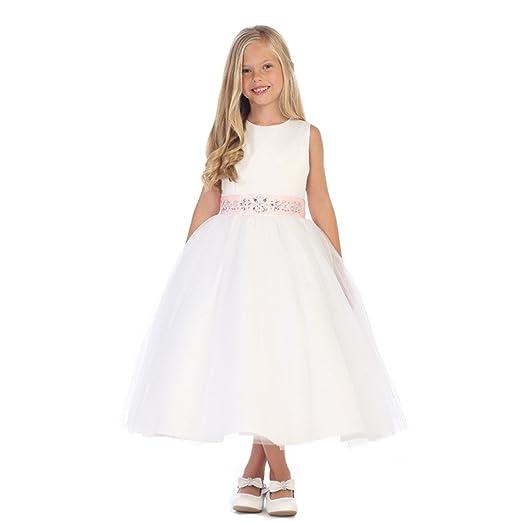 Amazon Com Angels Garment Big Girls Ivory Silver Stone Sash Junior
