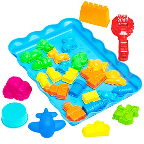 USA Toyz Play Sand Castle Molds - 28pc Play Sand Molds w/ Sand Tray Sensory Toys for Kids w/ Car, Plane, Animal Shape and Sand Castle ()