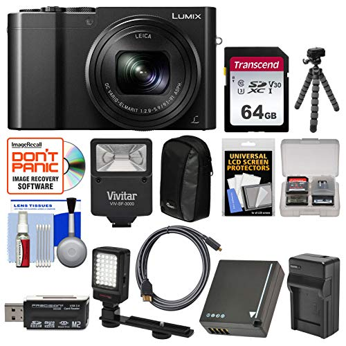 Panasonic Lumix DMC-ZS100 4K Wi-Fi Digital Camera (Black) with 64GB Card + Battery & Charger + Case + Flash + LED Light & Bracket + Flex Tripod Kit (Panasonic Lumix Dmc Lx100 Digital Camera Silver)