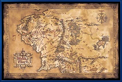the hobbit the lord of the rings middle earth map framed movie poster