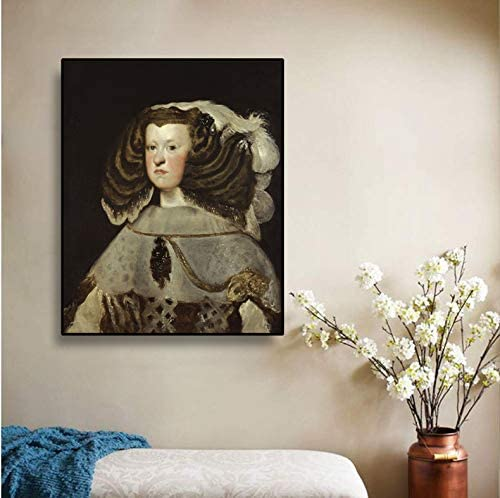 YIGUBIGU Cuadro en Lienzo Pintura al óleo 《Margarita de Austria Reina de españa》 Diego Velázquez Cuadro de Arte Decoración de Pared Decoración Moderna para el hogar Sin Marco 70 * 50 cm