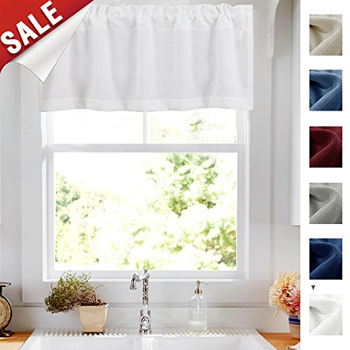 Privacy 18 inch Valance for Bathroom Short Privacy Semi Sheer Window Dressing Casual Weave Curtain Drapes for Living Room (54-inch x 18-inch Long, White, 1 pc)