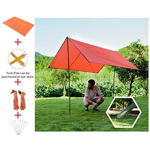 TRIWONDER Camping Tent Tarp Footprint Outdoor Waterproof Hammock Rain Fly Rainfly Cover Sunshade Shelter Groundsheet Canopy Blanket Mat (Orange+Accessories, 84.6 x 84.6 inches)