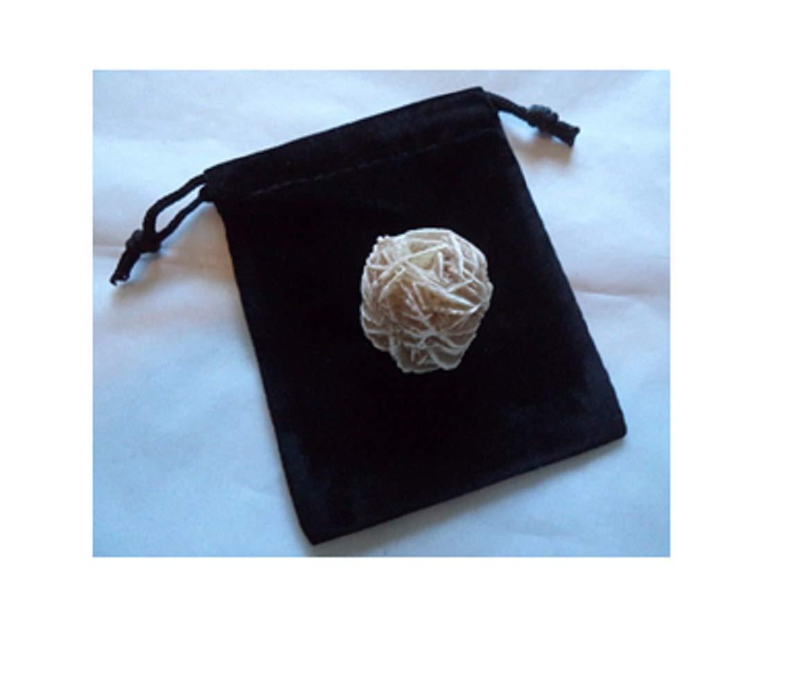 Azaina_wor Beautiful Desert Rose Selenite Flower: Protection Set - Stone Plus Velvet Bag (Rock Bud)