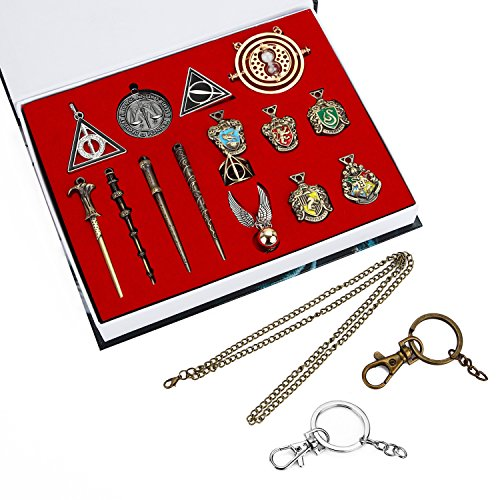 dise Gifts Mini Wand Set and Hogwarts House Badge with Keychain Necklaces Kids Toys (Classic) (Pin Pendant Set)