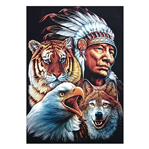 Lavany 5D Diamond Painting Kit,Indian Animal Full Drill Nature Paintings By Number Kits Embroidery DIY Rhinestone Pictures for Kids Adult Clearence (Indian) ()