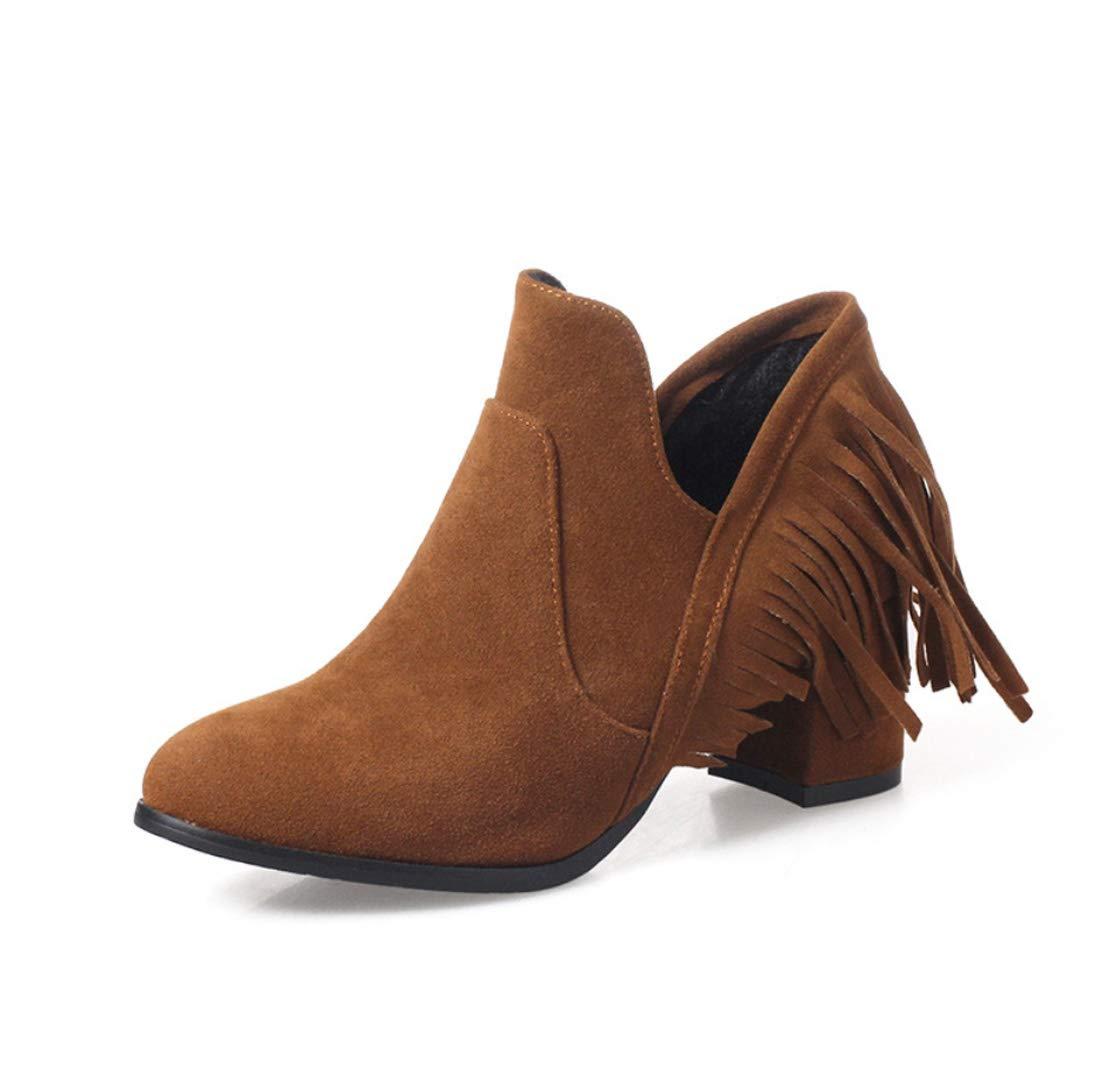 DANDANJIE Damenschuhe Mode Stiefel Schunkelange Ferse Runde Zehen Tassel Schuhe Für Den Winter Fall