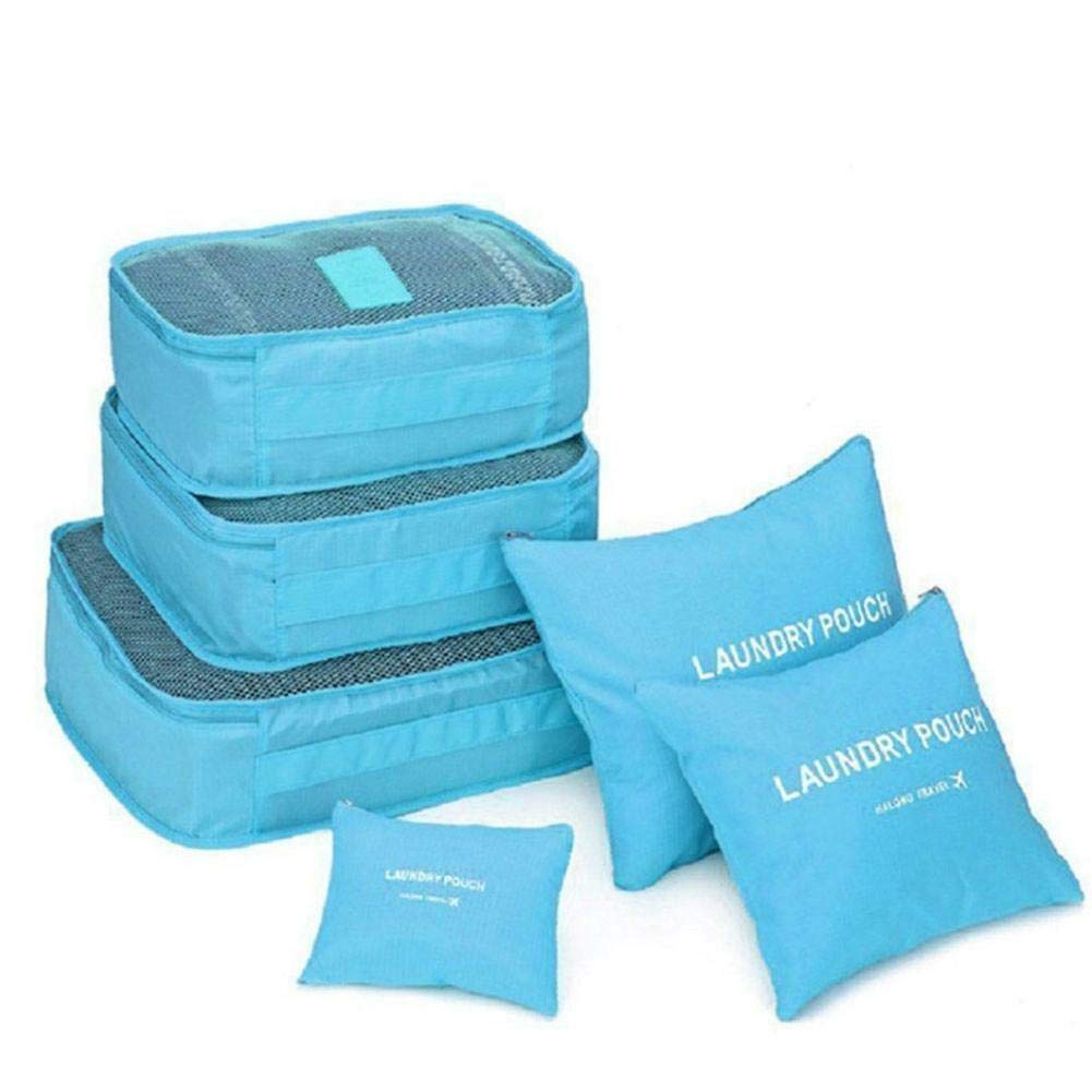 Bright Blue Color MOPOLIS Handy 6Pcs Travel Storage Bag Waterproof Clothes Packing Luggage Organizer Set