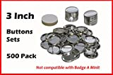 3 Inch Diameter 100 Pack Metal Round Buttons Parts - Metallic Badge Making Supplies