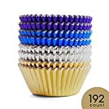 #2: Prodigen Foil Cupcake Liners Baking Muffin Paper Cases Silver & Gold & Purple & Blue 4 Colors Cake Baking Cups for Birthday, Wedding, Party, Festival for Boys, Girls, Kids, Adults(1 Pack)