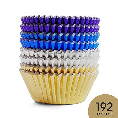 Silver Cupcake (Prodigen Foil Cupcake Liners Baking Muffin Paper Cases Silver & Gold & Purple & Blue 4 Colors Cake Baking Cups for Birthday, Wedding, Party, Festival for Boys, Girls, Kids, Adults(1 Pack))