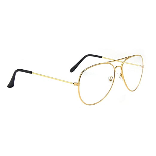 b5602d2835 Scorpiuse Aviator Glasses Clear Lens Retro Metal Frame Eyeglasses (Gold