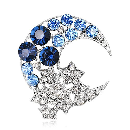 Ezing Trendy Rhinestones Moon Star Brooches for Women Crystal Wedding Bouquet Decorations