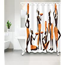 African Woman Chic Afro Decor Shower Curtain by LB, Sexy Tribal Girl in Costume Jewelry Traditional Cultural Heritage, Waterproof Polyester Fabric Bathroom Curtain 72 X 72, White Black