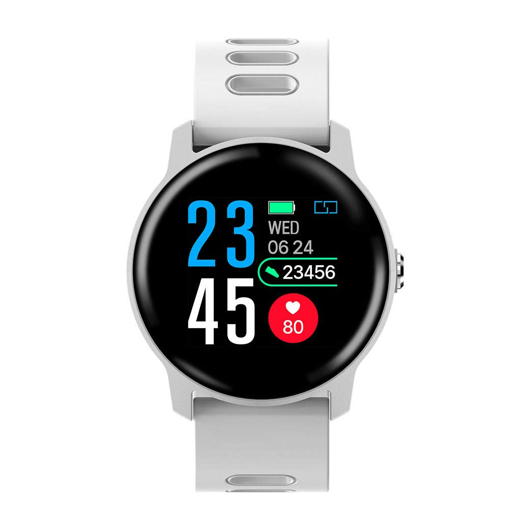 For Android & iOS, Waterproof Sport Smart Watch Fitness Heart Rate Tracker Blood Pressure Calorie Monitor Smart Bracelet (White)