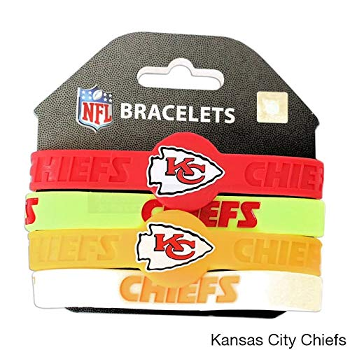 Multi NFL Kansas City Chiefs Rubber Bracelets, Football Themed Wrist Bands