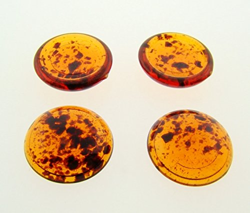 Shiny Glass Tortoise Amber (18mm. TORTOISE AMBER SPECKLE SHINY ROUND CABOCHONS - Lot of 48)