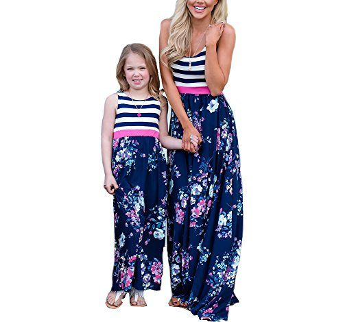 Mommy and Me Dresses Casual Floral Family Outfits Summer Matching Maxi Dress (Blue, -