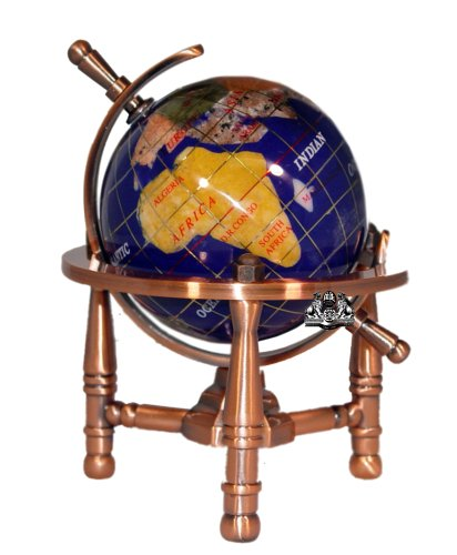 Unique Art 6-Inch Tall Blue Lapis Ocean Mini Table Top Gemstone World Globe with Copper Tripod Blue Lapis Globe