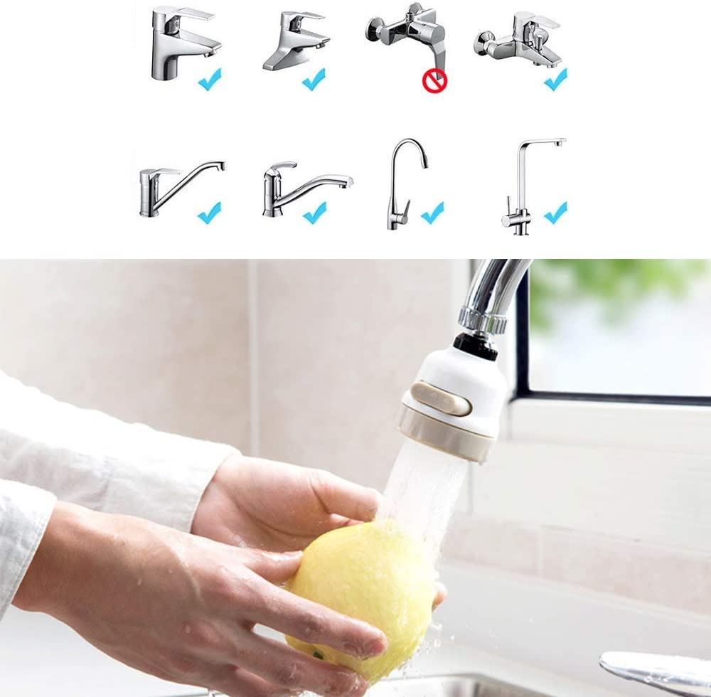 Bathroom Faucet Rotary Faucet Booster Splash-Proof Filter Water Saving Device Three Gear Adjustable Tap and Adapter Water Saver Water Flow Settings for Kitchen 2 x 360/°Swivel Faucet Splash
